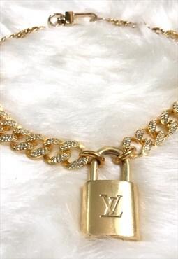Louis Vuitton Padlock statement choker with crystal link