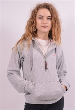 Adidas Womens Vintage Hoodie Jumper Small Grey 90s
