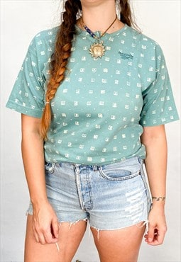 VINTAGE 80's Reebok Patterned Teal Tee T-Shirt