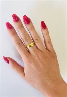 1990s Vintage Gold Plated Shiny Ring