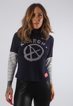 Cropped Turtle Neck Top Striped BICH Anarchy Print (H2P)