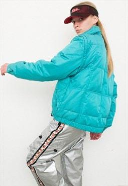 Vintage Turquoise Puffer Ski Jacket Sportswear Winter Autumn