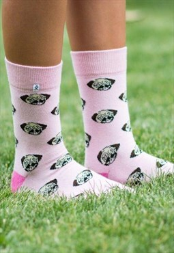 Pink Pug Dog animal funny and happy Socks