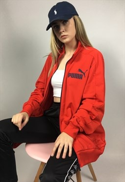 Bright Red Puma Retro 90s Style Track Jacket