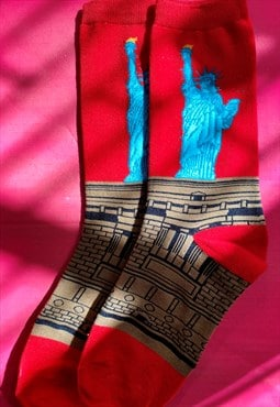 Vintage Inspired Socks with Statue of Liberty in Red Blue