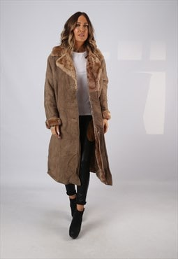 Sheepskin Suede Leather Shearling Coat UK 16 XL (LJBS)