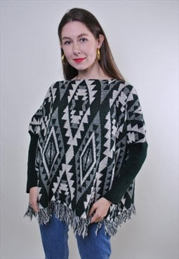 70s aztec print knitted hippie poncho
