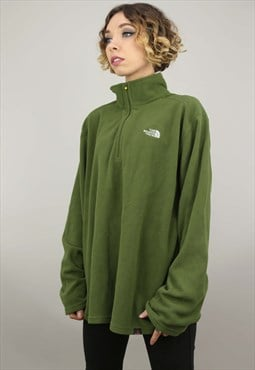 Vintage 90s Oversized The North Face Green 1/4 Zip Fleece