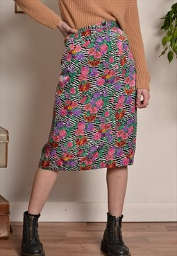 Vintage Floral Patterned Midi Skirt