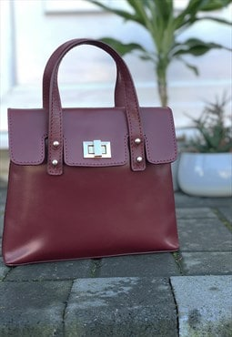 Real Leather Mini Crossbody Bag for Women - Burgundy