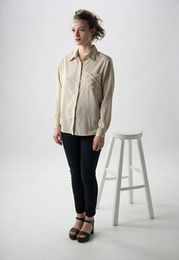 Long Sleeve Silky Blouse / Beige Light button up
