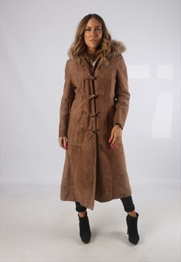 Vintage Sheepskin Suede Shearling Coat Long Hooded 10 (H4B)