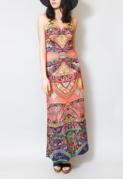 Vintage 1970's Paisley Print Folk Maxi Halter Neck Dress.