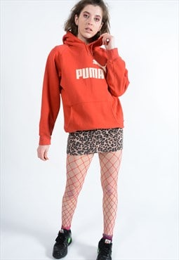 Vintage Puma Hoodie with spell out graphic logo in red.
