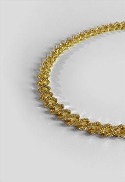 """30"""" 10mm Diamond Geometric Iced Diamond Necklace - Gold"""