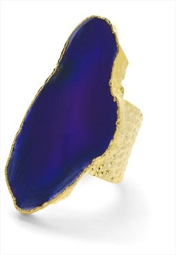 Ultra Mega Indigo Gemstone Gold Adjustable Statement Ring