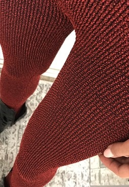 High Waist Leggings in Burgundy Crinkle