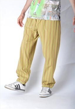 Vintage 90s Beige Lime Green Striped Pyjamas Pants