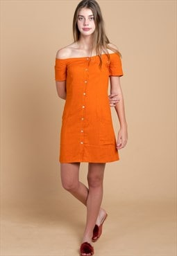 Vakay Linen Off Shoulder Mini Dress in Orange