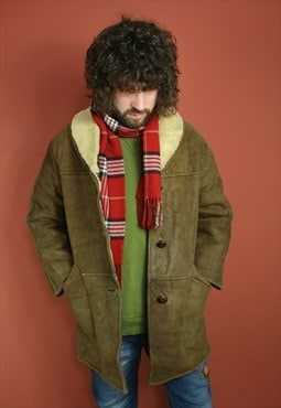 vintage oversized suede sheepskin sherling lined winter coat