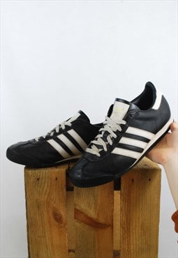 Vintage 90s Adidas Classics Leather Trainers 3 Stripe Black