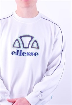 Vintage Ellesse Embroidery Sweatshirt in White