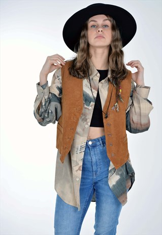 VINTAGE 90'S REAL SUEDE LEATHER WAISTCOAT GILET