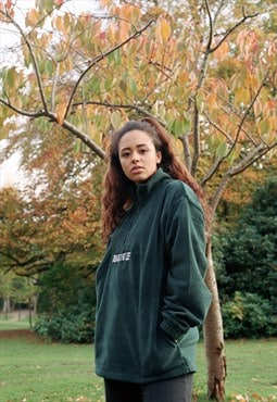 Fleece In Forest Green With logo Embroidered Design