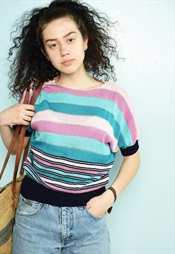 Vintage 80s striped Mod minimalist festival knit blouse top