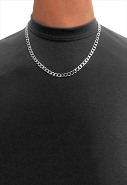 "6mm 18"" 925 Sterling Silver Curb Necklace Chain"