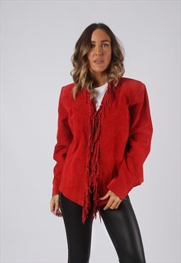 Suede Leather Tassel Fringe Jacket Coloured UK 12 (DW4Q)