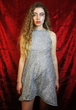 Silver Tinsel Metallic Mini Dress