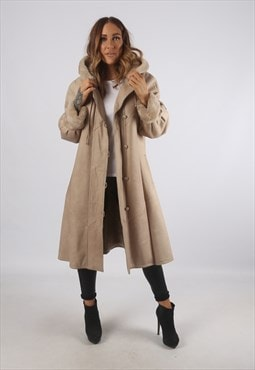 Vintage Sheepskin Leather Shearling Coat Mid Hooded (93I)