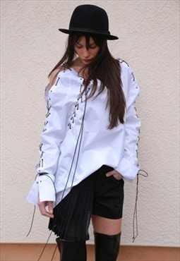 Oversized Shirt Top Long Sleeved Ties Shirt Blouse F1551