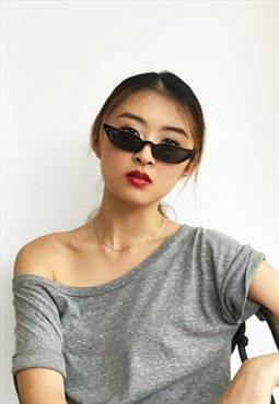 Tiny Retro Rectangle Cat Eye Sunglasses in black