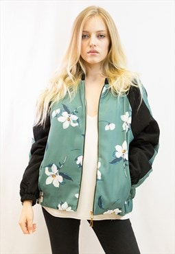 Floral printed quilted oversized Bomber Puffer Jacket