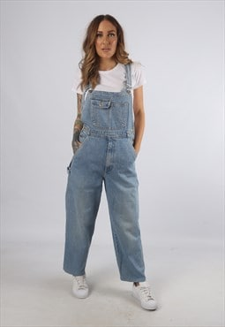 Vintage Denim Dungarees Wide Leg UK S 10  (K93A)