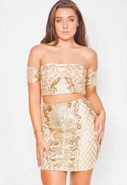 Baddie vip nude gold sequin & embroidery two piece co ord