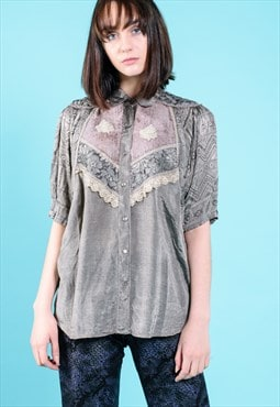 VINTAGE Grey Patterned Retro T-Shirt