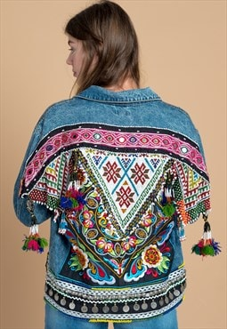 Bohemian Tribal Embellished Festival Denim Jacket