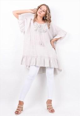 Greige Broderie Front Frill Trim Linen Tunic Dress