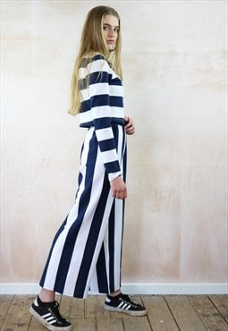 Blue n White Crop Pants & Jumper Co-Ordinates