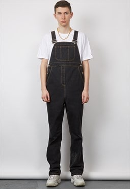 Vintage 90's washed black contrast tobacco stitch dungarees
