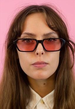 Rectangular Black Sunglasses with Rose Lens