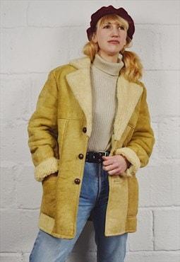 Vintage Shearling Winter Coat 70s Tan