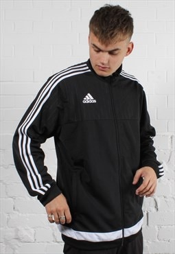 Vintage Adidas Track Jacket in Black w/ White Spell Out Logo