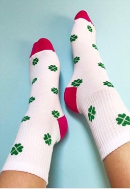 Funny colourful Socks with green 4 leafs Clover for luck