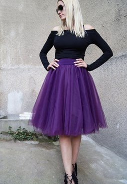 Tulle Skirt Tutu Short Skirt Purple Ballet Bridesmaid F1616