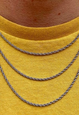 Thin Silver Rope Chain Necklace Mens Womens Jewellery