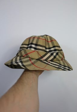 Vintage 80s 90s Burberry Bucket hat nova check cream